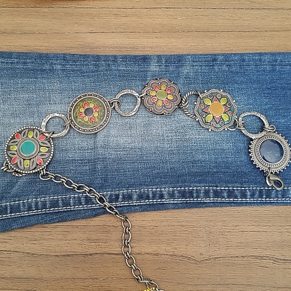 Chico's Accessories - Chicos Enamel Medallion Chain Belt